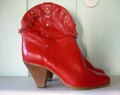 WOMEN'S VINTAGE RED LEATHER FRINGE ANKLE BOOTS SIZE 6/ 6.5