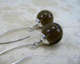 Smoky Quartz  Earrings,  Sterling Silver Handformed Leaf-Shaped Hoops, Rivergum Jewellery