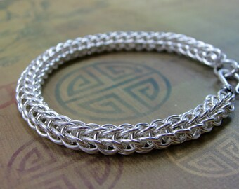 Bracelet, Chainmaille, Chainmail, Full Persian 6 in 1, Argentium Silver