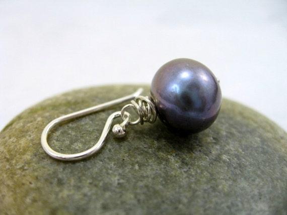 Large Black Freshwater Pearls, Earrings, Sterling Silver, RiverGum Jewellery