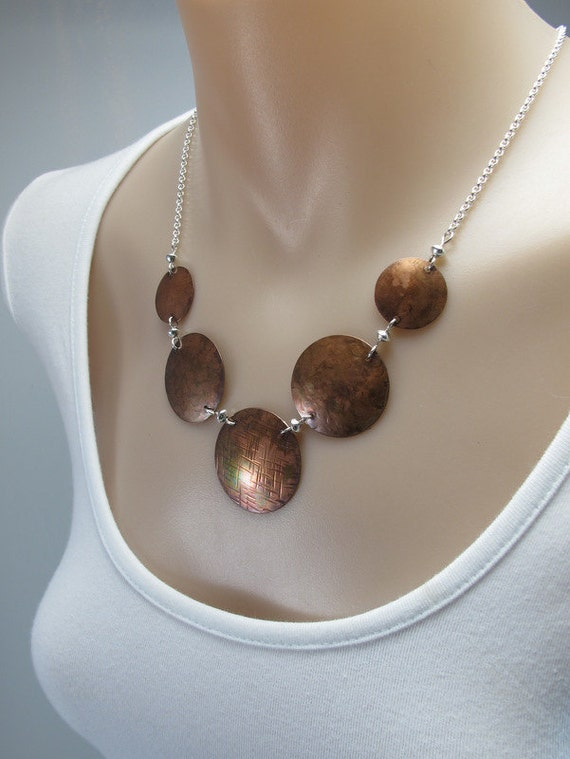 Necklace, Copper and Sterling Silver, Mixed Metal, Copper Jewelry