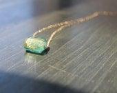Segovia Aquifer Murano Square Glass Necklace on Gold FIlled Chain