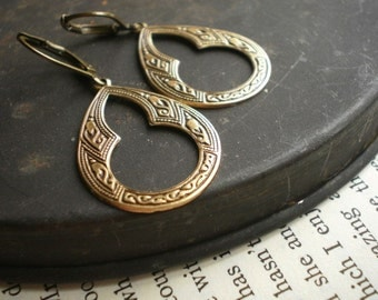 Zagora Antique Brass Moroccan Keyhole Earrings