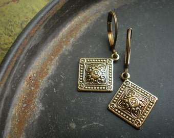 Szolnok Hungarian Diamond Medallion Earrings in Antique Brass