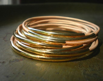 Sanya Leather and Gold Bangles