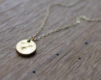 Charlotte Hammered Matte Gold Dot on Gold-Filled Chain Necklace