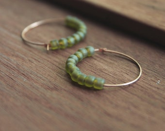 Martapura Vintage Brass Hoop Earrings with Matte Hosta Leaf Glass Beads