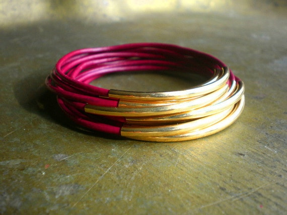 Sao Paulo Magenta Leather and Gold Bangles