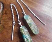 Vintage Kyanite bullet pull thru earrings