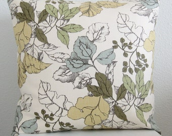 Pillow Cover - 16x16 - Leaves - Botanical - Ivory - Yellow - Blue - Green - Accent - Cushion Cover