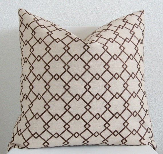 Decorative pillow cover - throw pillow - Accent pillow - 20x20 - beige and brown - patterned lattice diamonds