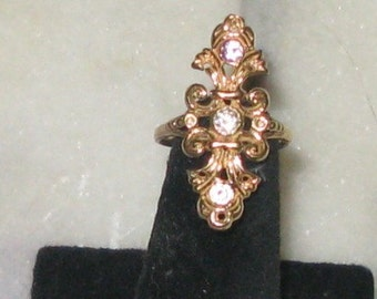 Elaborate 14K Diamond and Garnet Ring