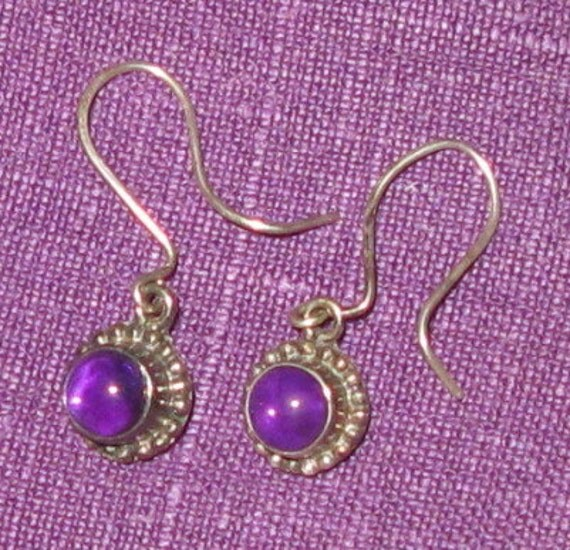 Charming Sterling Silver Amethyst Earrings - Vintage