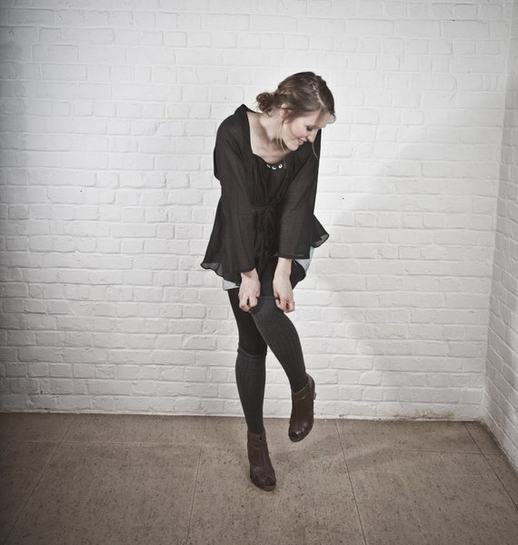 RESERVED for Gabriela The Black cotton boudoir blouse, boho, bohemian, romantic, soft, size medium, large