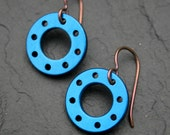 Blue Disc Earrings - aluminium, titanium, anodised, drilled disc