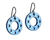 Cobalt Blue Disc Earrings - drop earrings in blue aluminium with a titanium ear hook