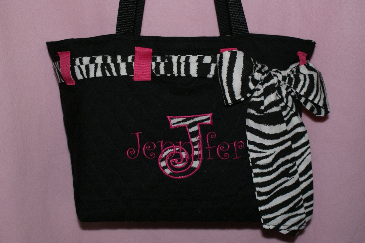 personalized black quilted zebra diaper bag tote purse. Black Bedroom Furniture Sets. Home Design Ideas