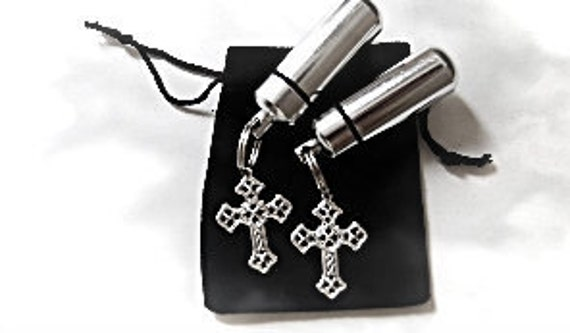 Set of TWO Silver Cross CREMATION URN Memorial Keepsakes - with Velvet Pouches & Fill Kit