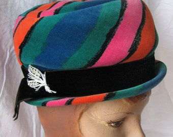 Vintage 1960s 60s Mod Hat - Velvet - Bright Colors - Christine Original - Rhinestone Pin Brooch