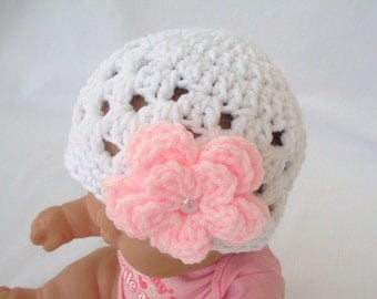 Newborn Girl Hat, Baby Hat, Crochet Beanie, White Hat with Flower,  Many Colors Available