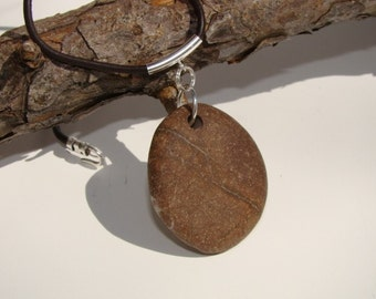 Beach Stone Pendant Necklace, Sterling Silver, Leather Cord