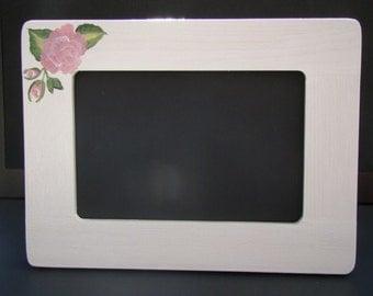 Hand Painted Frame - Pink Rose Frame on White  - 4x6 Frame