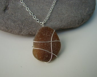 Autumn Necklace - Amber Sea Glass Pendant Necklace - Wire Wrapped - Beach Glass Jewelry