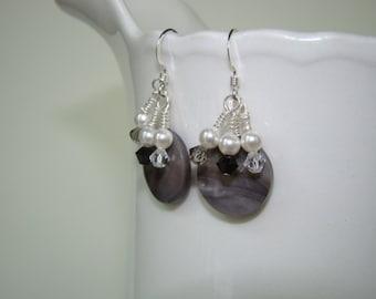 Grey Shell Earrings  - Mother of Pearl Earrings - Sterling Silver