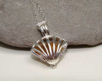 SALE 40% OFF - Sea Shell Pendant Necklace - Amber Sea Glass - Sterling Silver Chain