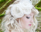 Bridal Hair Accessory with Handmade  Silk and Organza Flowers