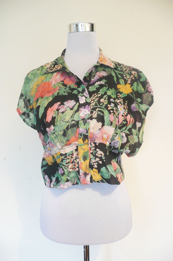 Vintage 1980s Kabri tropical summer blouse