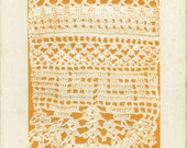 1882, Antique, Embossed Print, Crochet Mantel Border, Lace, Vintage, Stitch, Orange, Cream, Victorian Needlework, Shabby