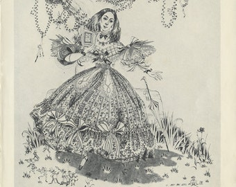 1944 Vintage Print, Eliza Browning, Lady Crinoline Bows, Bird Nest, Girls' Bedroom Decor, Pauline Baynes Children's Illustration for Framing