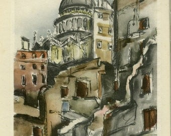 St Pauls from Paternoster Row London WW2 Wartime Ruins Bomb Site Chapter House Vintage Print 1945 World War 2