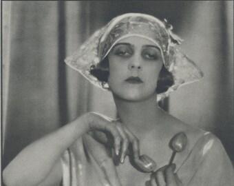 La Marquise de Casa Maury, Art Deco, Vintage Monochrome Portrait in Photogravure by Hugh Cecil, 1926, Book of Beauty