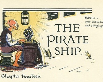 The Pirate Ship, Illustrated Chapter 14, Peter Pan Vintage Print 1931, Smee, Kid's Creek, Jolly Roger, Children, Nursery, Gwynedd Hudson
