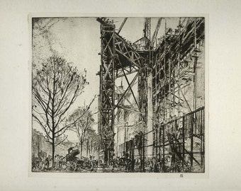 Scaffolding, 1924, Vintage Print from a Dry Point by Frank Brangwyn, Fine Art Society, Plate 10