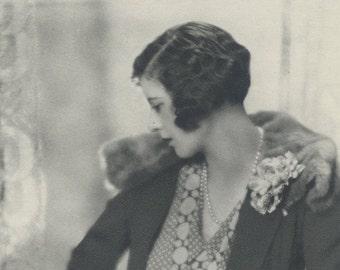 Honorable Mrs Richard Norton, Art Deco, Vintage Monochrome Portrait in Photogravure by Hugh Cecil, 1926, Book of Beauty