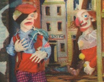 "Imposter: Punch and Judy, ""You are an old imposter."" 1940's, Vintage (Children's) Print, Puppets"