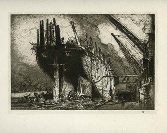 Vintage Ship Print, Nautical Art Decor, Frank Brangwyn, Breaking up the Duncan, Sailing Ship Print, 1924, Plate 6, Fine Art Etching