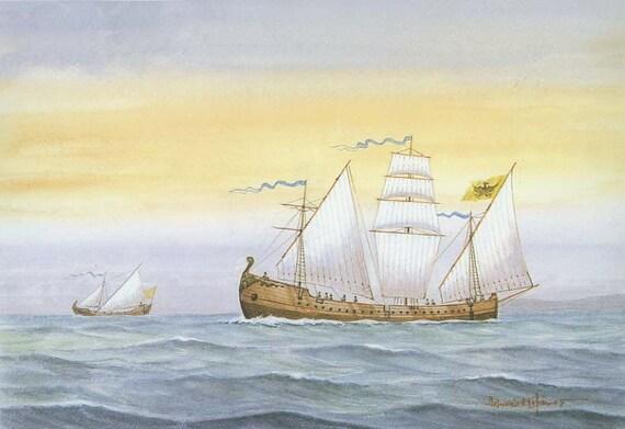Ancient, Vintage Maritime Print, No. 7, 1992, War Ship, Water, Sea, Sail, Flag, Boat, Vessel, Nautical, Medieval Image, Coast, Greek, Greece