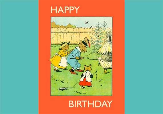 Birthday Card for Keeps, Bears and Bees, Custom Words, Vintage Picture, Archival Pigment Inks, High Quality for Keeping or Framing