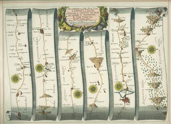 1939, Ribbon Map, Plates 15-16, London to St David's, Abington, Monmouth Burton Ferry, Kingdom of England, Wales, John Ogilby (1675)