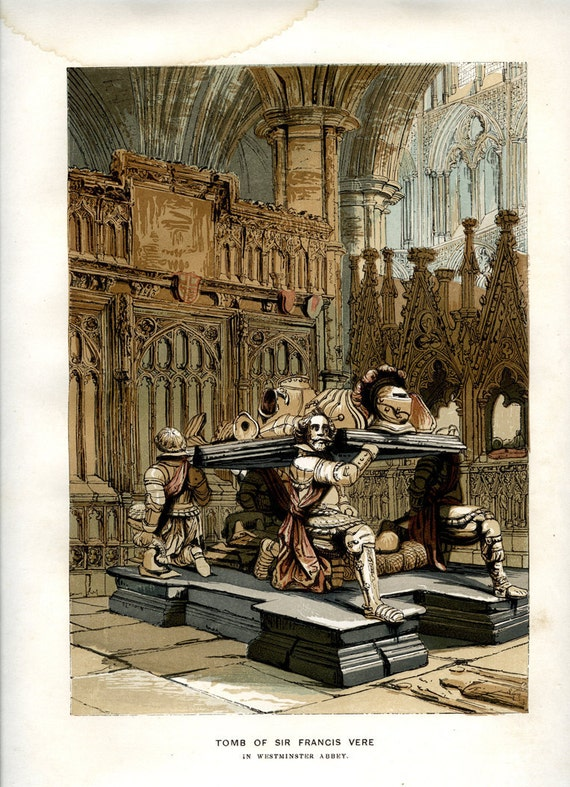 1845, Westminster Abbey, Tomb of Sir Francis Vere, Antique Chromolithograph Print, Old England, English Antiquities        Update your settings