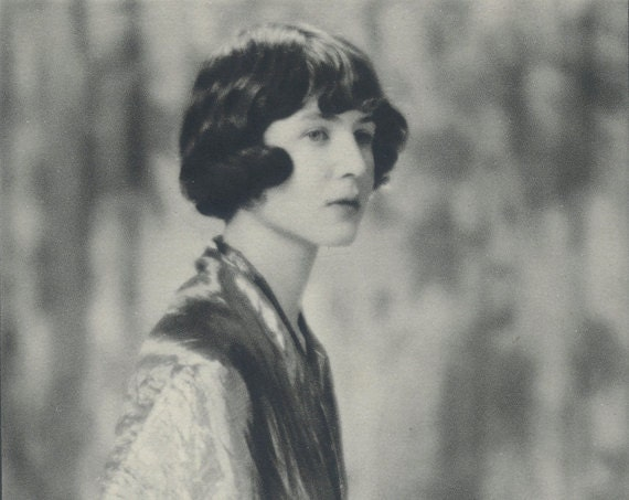 Shelmerdene, Art Deco, Monochrome Portrait in Photogravure by Hugh Cecil, 1926, Book of Beauty