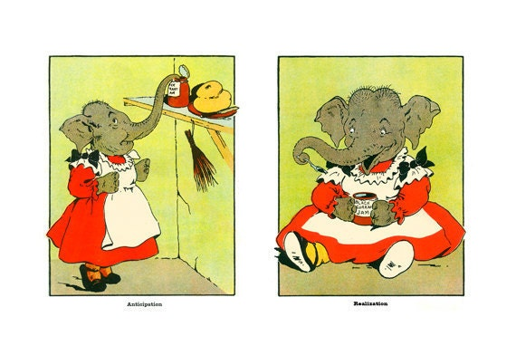 New: Bad Elephant Sue Stealing Antique Reprint, Jumbo Picture Book Page, Harry Neilson, Anthropomorphism, Kids Nursery Wall Art