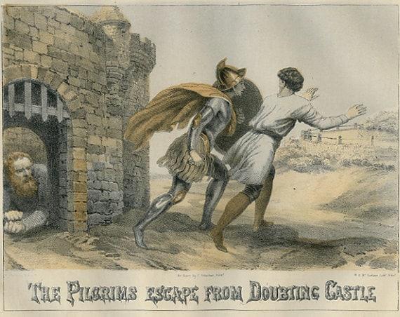 Pilgrim's Progress, The Pilgrims Escape from Doubting Castle, John Bunyan, Chromolithograph to frame, 1864, Victorian,