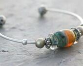 Bangle bracelet, artisan boro lampwork, sterling silver