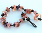 Leather and Lampwork bracelet, Bubbly effervescent artisan glass beads