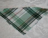 Small - Velcro Bandana - Green/White Plaid